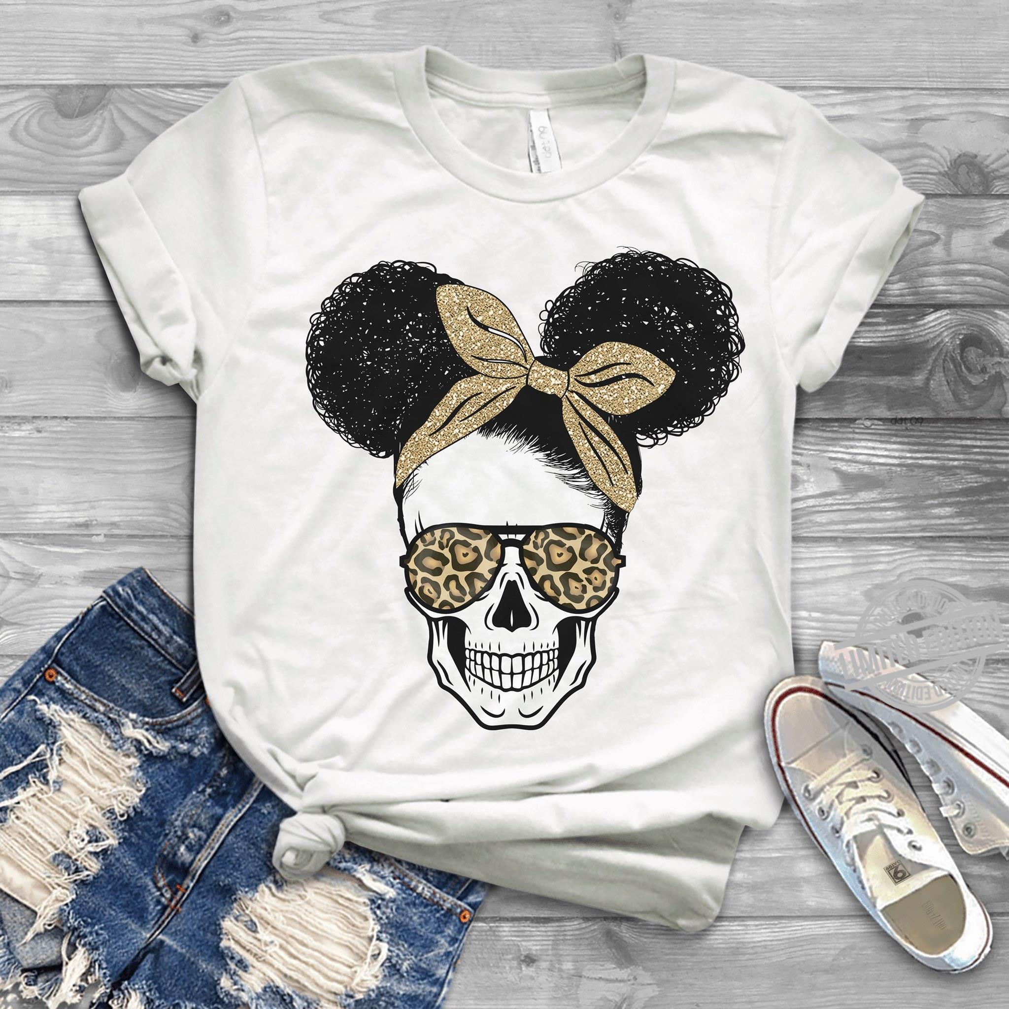 Skull Girl With Leopard Glasses Shirt